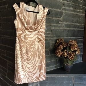Kay Unger Silk Animal Print Party Cocktail Dress